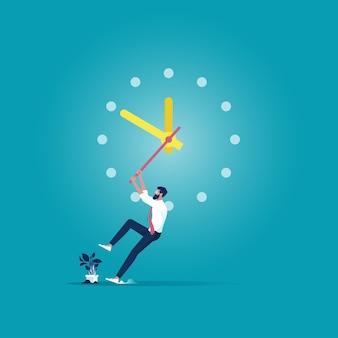 Empresário está tentando parar o tempo, prazo e conceito de gerenciamento de tempo