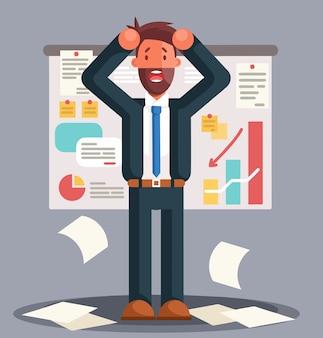 Empresário estressado em pé contra um gráfico de resultados ruins. os negócios falham. gráfico para baixo