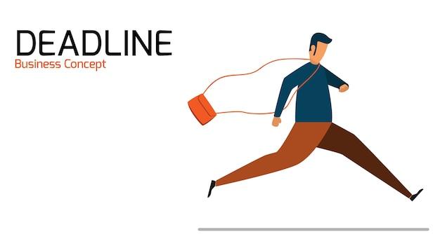 Empresário, executando o tempo de gerenciamento no prazo. ilustração em vetor negócios personagem.