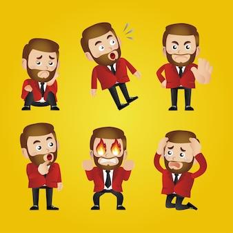 Empresário expressivo em diferentes poses