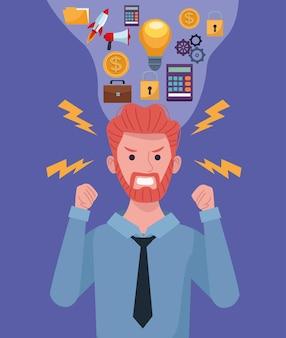 Empresário extressed devido a sobrecarga de informações, pensando em conjunto de ícones de ilustração