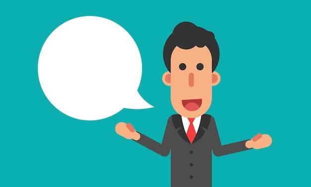 Empresário fala com bolha do discurso