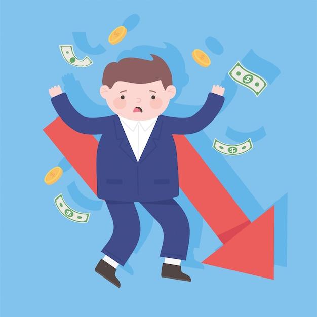Empresário falido caindo seta processo de dinheiro crise financeira