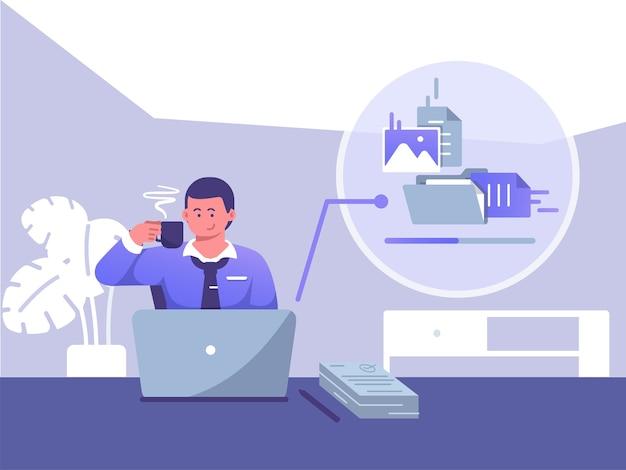 Empresário faz uma pausa para o café enquanto envia arquivos na frente do laptop. pausa para o café da ilustração plana do conceito de trabalho