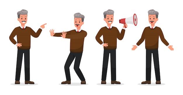 Empresário, fazendo gestos diferentes. conjunto de caracteres