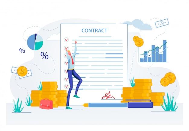 Empresário feliz com contrato assinar documentos.