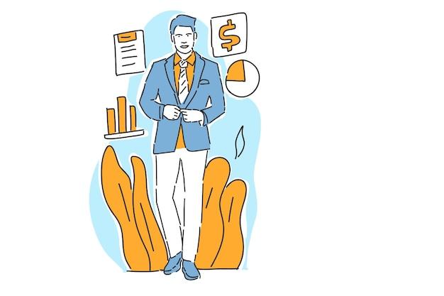 Empresário feliz com lucro de negócios ilustração mão desenhar
