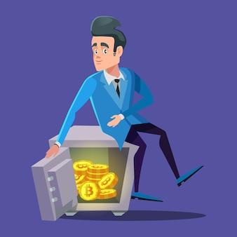 Empresário feliz sentado em um cofre cheio de bitcoins