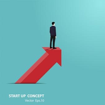 Empresário fica na seta olhando ir para o futuro