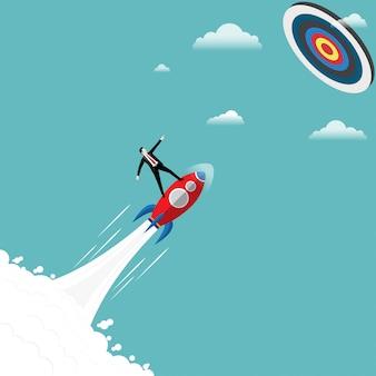 Empresário fica no foguete para o objetivo de sucesso