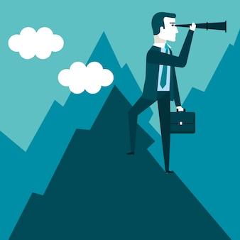 Empresário fica no topo da montanha usando o telescópio