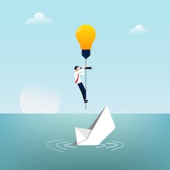 Empresário foge do barco de papel que afunda pelo símbolo de uma lâmpada.