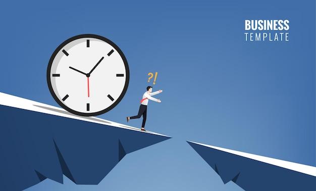 Empresário foge do conceito de grande relógio. ilustração de símbolo de negócios