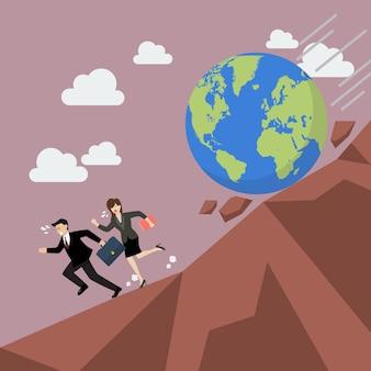Empresário, fugindo do planeta terra que está rolando para ele