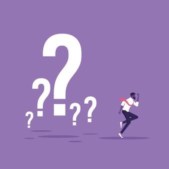 Empresário fugindo do problema, escapar ou eliminar o conceito de obstáculo