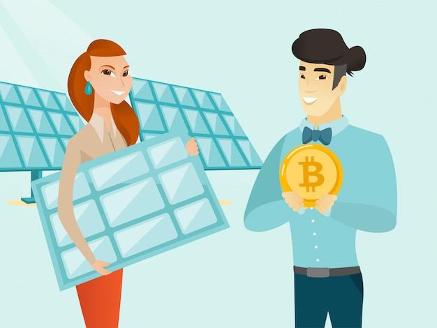 Empresário investindo bitcoin em tecnologia verde.