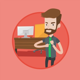 Empresário irritado, apontando para o relógio de pulso.