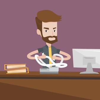 Empresário irritado rasgando contas ou faturas.