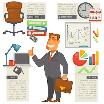 Empresário isolado com material de escritório em torno