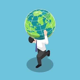 Empresário isométrico 3d plano carregando o globo do mundo ou da terra no ombro. conceito de responsabilidade e liderança.
