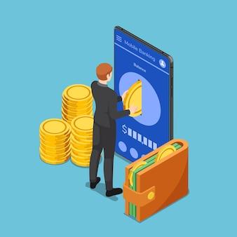 Empresário isométrico 3d plano colocar moeda de ouro no smartphone. conceito de banco móvel.