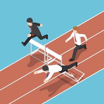 Empresário isométrico 3d plano correndo com obstáculo na corrida de obstáculos. conceito de competição empresarial.
