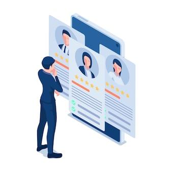 Empresário isométrico 3d plano olhando currículo on-line no smartphone. currículo online e conceito de recrutamento.