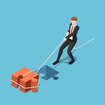 Empresário isométrico 3d plano puxar o bloco de serra de vaivém para o orifício compatível. conceito de solução de negócios.