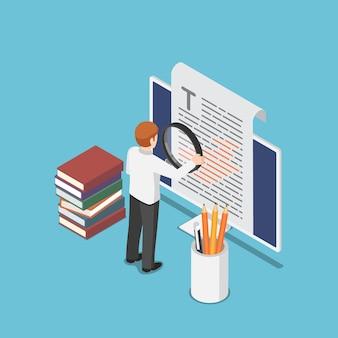 Empresário isométrico 3d plano revisando um documento no monitor do pc. revisão e conceito de redação de conteúdo.
