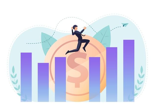 Empresário isométrico 3d plano saltando no vão entre o gráfico para chegar ao ponto mais alto. conceito de sucesso de liderança e negócios.