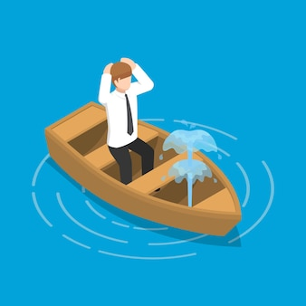 Empresário isométrico 3d plano sentado no barco a vazar. conceito de crise empresarial.