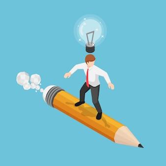 Empresário isométrico 3d plano surfando no lápis com lâmpada na cabeça. ideia de negócio e conceito de criatividade.