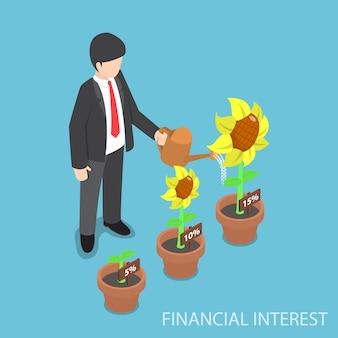 Empresário isométrico regando plantas de diferentes tamanhos