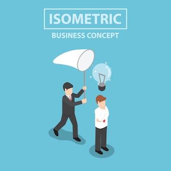 Empresário isométrico roubando a lâmpada da ideia