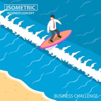 Empresário isométrico surfando na onda