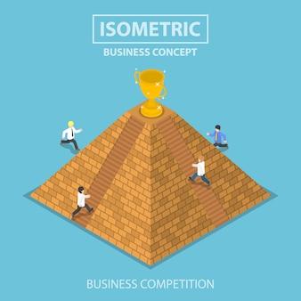 Empresário isométrico, tentando obter o troféu de vencedor no topo da pirâmide