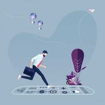 Empresário jogando amarelinha - conceito de um processo de negócios