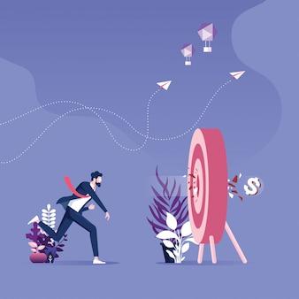 Empresário, jogando um sinal de dólar para alvejar a placa. ilustração do conceito objetivo