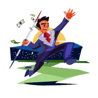 Empresário jogando uma lança de dinheiro em um campo do estádio
