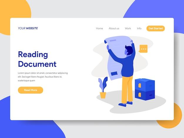 Empresário, lendo a ilustração do documento para páginas da web