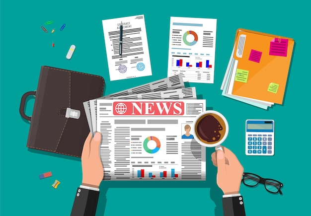 Empresário lendo jornal diário. design de jornal de notícias. páginas com diversos títulos, imagens, citações, textos e artigos. mídia, jornalismo e imprensa. em estilo simples.