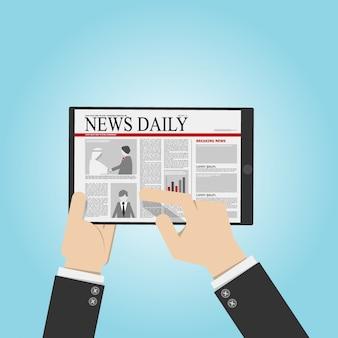 Empresário ler notícias do tablet