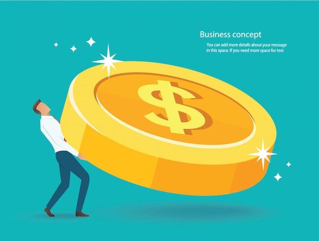Empresário levantar a grande moeda de ouro