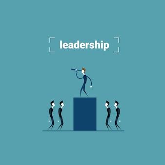 Empresário líder em pé na barra de gráfico, olhando através de binóculo no conceito de desenvolvimento de sucesso futuro ...