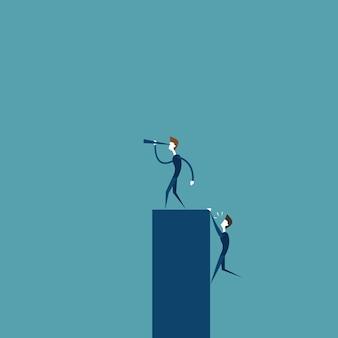 Empresário líder olhando através de binóculo no futuro bem sucedido enquanto homem de negócios subindo no conceito de competição de bar