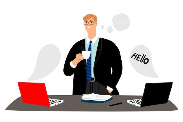 Empresário lidera negociações on-line e bebe o conceito de café