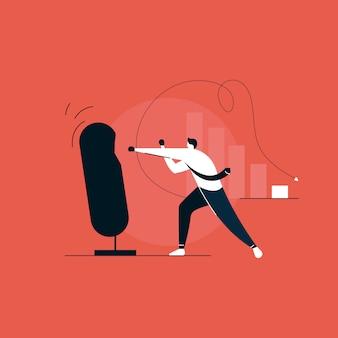 Empresário lutando com problemas, conceito de boxe do empresário
