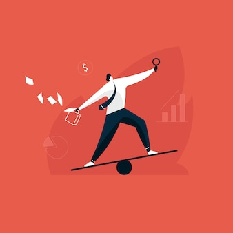 Empresário mantém o equilíbrio entre trabalho e vida, gerente de multitarefa