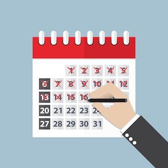 Empresário mãos marca no calendário