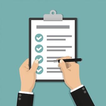 Empresário mãos segurando uma lista de verificação de transferência com caneta em um design plano